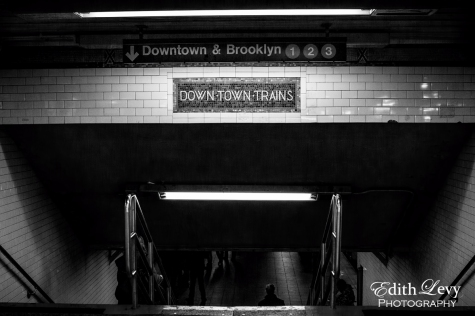 New York, Manhattan, subway, downtown, train, Brooklyn, black and white, monochrome, stairs