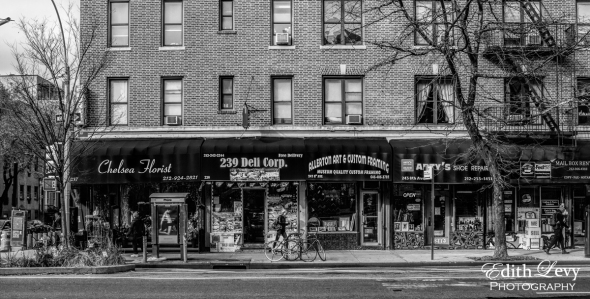 New York, Chelsea, street photography, black and white, florist, neighbourhood, storefront