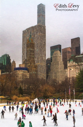 New York, Central Park, ice skating, winter, city, fine art, buildings, skating