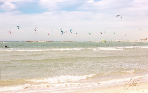 Israel, Tel Aviv, Mediterranean, sea, beach, Kite Boarding, Fine Art, travel photography