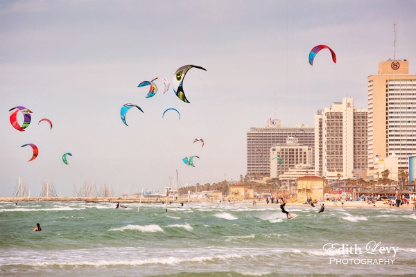 Israel, Tel Aviv, beach, kite boarding, waves, hotels, fine art, travel photography