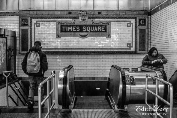 New York, NYC, Manhattan, subway, Times Square, escalators, black and white