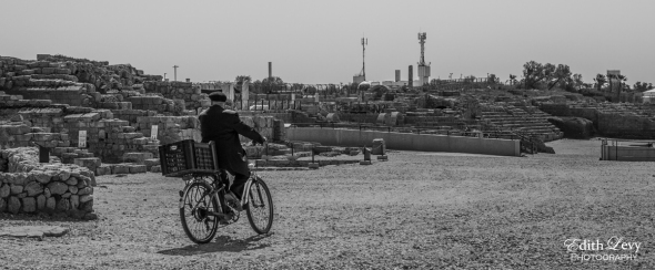 Israel, Caesarea, black and white, travel photography, ruins, bicycle, rider,