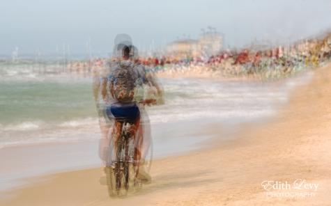 Israel, Tel Aviv, Banana Beach, sea, bicycle, multiple exposure, cycling,