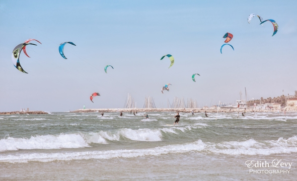 Israel, Tel Aviv, Banana Beach, sea, Kite Boarding, waves, marina, water, travel photography