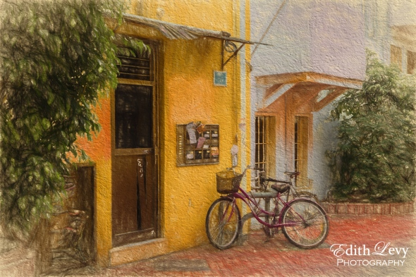 Israel, Tel Aviv, neighbourhood, bicycle, mailbox, Carmel Market, digital painting