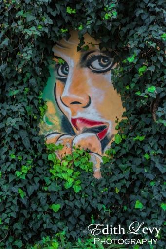 Israel, Tel Aviv, street art, graffiti, street photography, leaves, woman