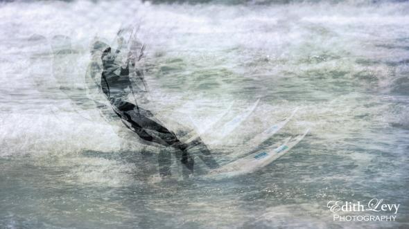 Israel, Tel Aviv, Banana Beach, Kite boarding, kiteboarder, waves, multiple exposure, water, mediterranean, sea, travel photography
