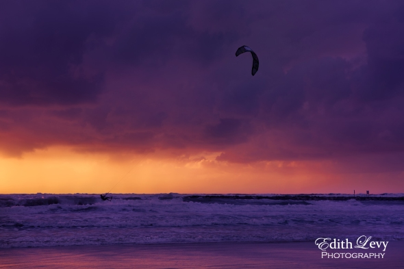 Tel Aviv, Israel, Mediterranean, sea, water, Kite Boarding, kiteboarder, clouds, sunset