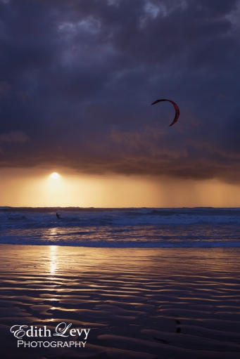 Israel, Tel Aviv, kite boarding, kite boarder, sunset, beach, ride, sea, Mediterranean, Banana Beach