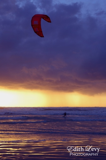Israel, Tel Aviv, Banana Beach, mediterranean, sea, kite boarding, kiteboarder, boarding, kiting, sunset, beach
