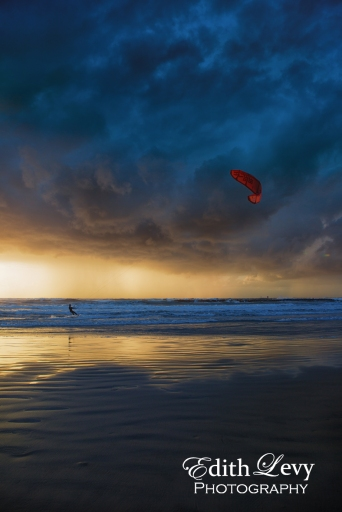 Israel; Tel Aviv; Banana Beach; mediterranean; sea; kite boarding; kiteboarder; boarding; kiting; sunset; beach