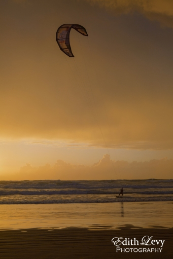Israel, Tel Aviv, Banana Beach, kite boarding, kite boarder, sunset, golden light, travel photography