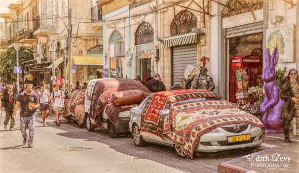 Tel Aviv, Israel, Old Jaffa, carpets, street photography, digital art, cars