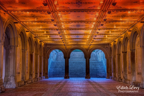 New York, Manhattan, Central Park, Bethesda Terrace, Sunrise, arches, art deco, travel photography