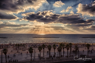 Tel Aviv, Israel, beach, summertime, Gordon Beach, sea, Mediterranean, sunset, sky, golden hour, travel photography
