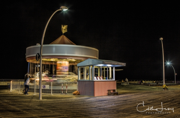 Tel Aviv, Israel, Old Port, Merry Go Round, Carousel, beach, night photography, travel photography, long exposure