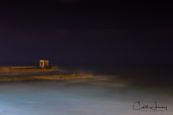 Tel Aviv, Israel, port, pier, water, long exposure, night photography, travel photography