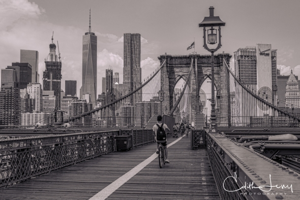 NewYork, Brooklyn Bridge, Black and White, monochrome, travel photography, One World Trade Centre, Freedom Tower