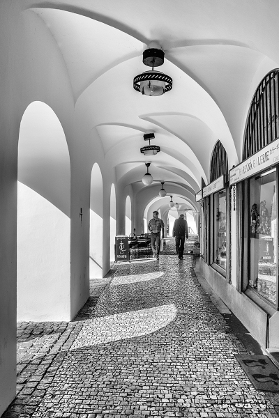 Prague, Czech Republic, Old Town, walkway, architecture, moorish, black and white, travel, street photography