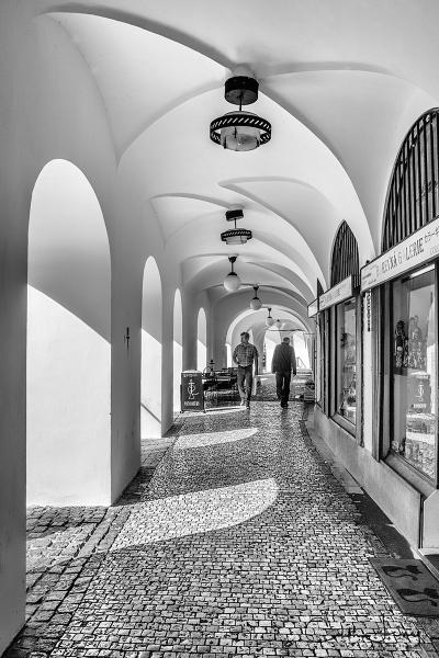 Prague, Czech Republic, Old Town, walkway, architecture, moorish, black and white, travel, street photography