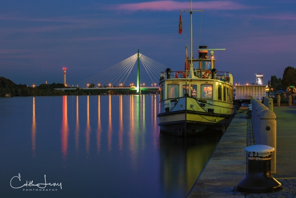 Vienna, Austria, Danube, river, ship, pier, blue hour, sunset, long exposure