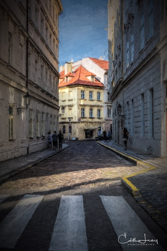 Prague, Czech Republic, street, building, architecture, shadows, light, digital painting, travel photography