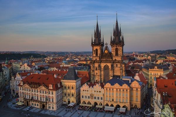 Prague, Czech Republic, street, building, architecture, sunset, rooftops, church, travel photography