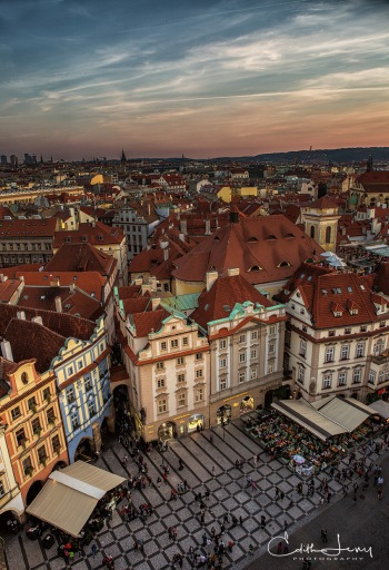 Prague, Czech Republic, street, building, architecture, sunset, rooftops, church, travel photography