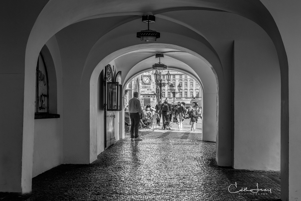 Prague, Czech Republic, Old Town, walkway, architecture, moorish, black and white, travel
