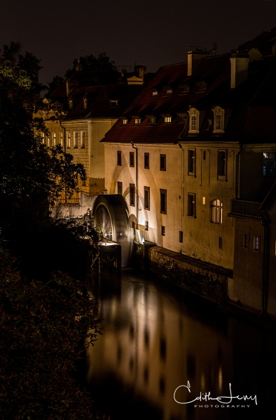Prague, Czech Republic, Old Town, architecture, Charles Bridge, Night Photography, long exposure, water wheel