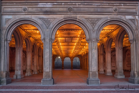 New York, Central Park, Manhattan, Bethesda Terrace, architecture, arches, sunrise, lights