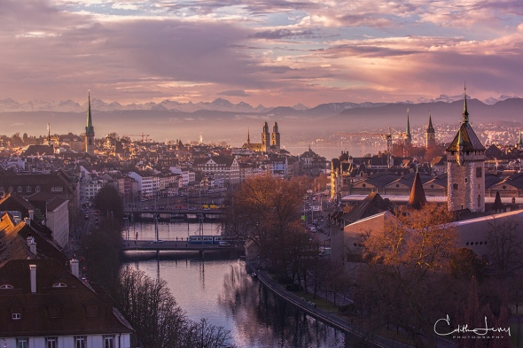Zurich, Switzerland, mountains, alps, sunset, river, Limmat river, bridge, travel photography