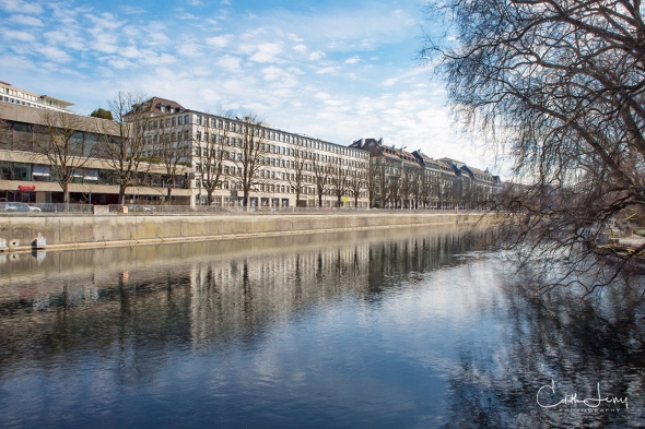 Zurich, Switzerland, river, Limmat river, trees, reflections, travel photography