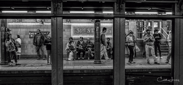 New York, NYC, Manhattan, subway, 51st street station, black and white, BNW, monochrome, tableau