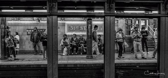 New York, NYC, Manhattan, subway, 51st street station, black and white, BNW, monochrome, tableau