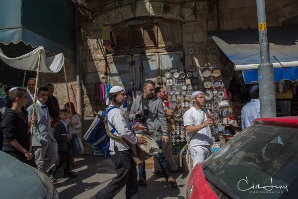 Jerusalem, Israel, Bar Mitzvah, procession, flutist, musician, drum, orthodox