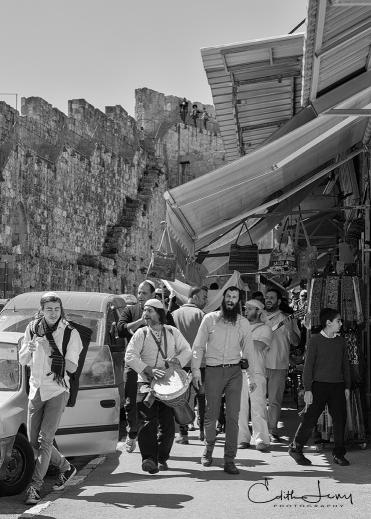 Jerusalem, Israel, Bar Mitzvah, procession, flutist, musician, drum, orthodox, black and white