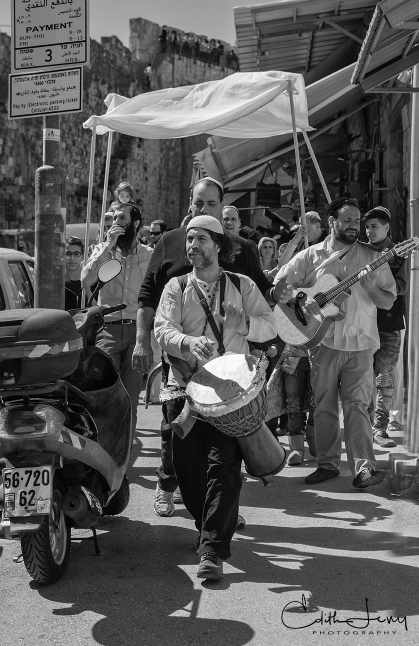 Jerusalem, Israel, Bar Mitzvah, procession, flutist, musician, drum, orthodox, black and white