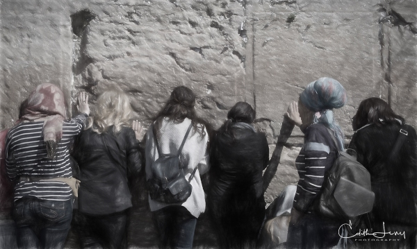 Jerusalem, Israel, Western Wall, prayer, women, digital painting,