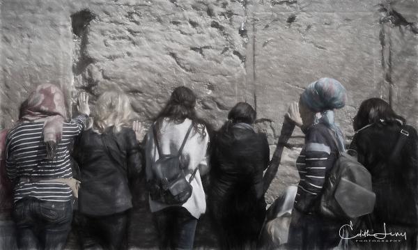 Jerusalem, Israel, Western Wall, prayer, women, digital painting,