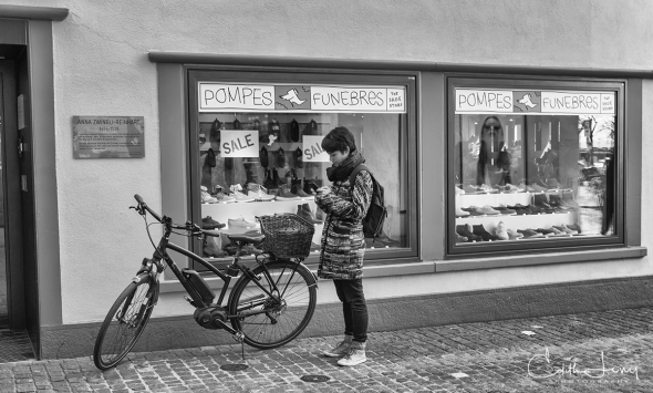 Zurich, Switzerland, architecture, street, bicycle, bike, Europe, old town, black and white, monochrome