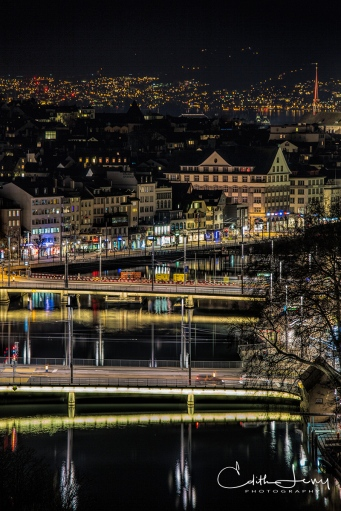 Zurich, Switzerland, cityscape, night, night photography, long exposure, river, Limmat river, bridge, travel photography