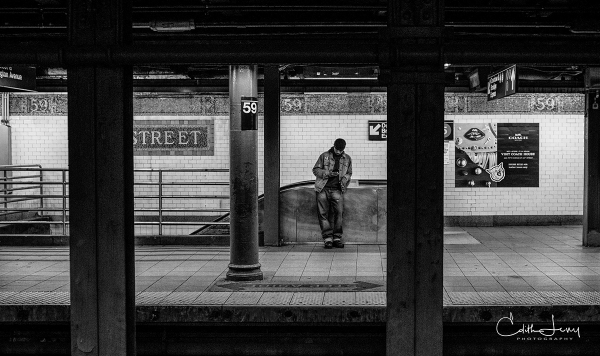New York, NYC, Manhattan, subway, 59th street station, black and white, BNW, monochrome, tableau, platform