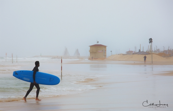 Israel, Tel Aviv, beach, surf, surfing, foggy, jogger, sand, travel photography