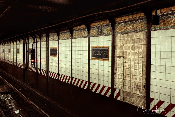 New York, NYC, Manhattan, subway, Fulton Street, station, platform, tracks