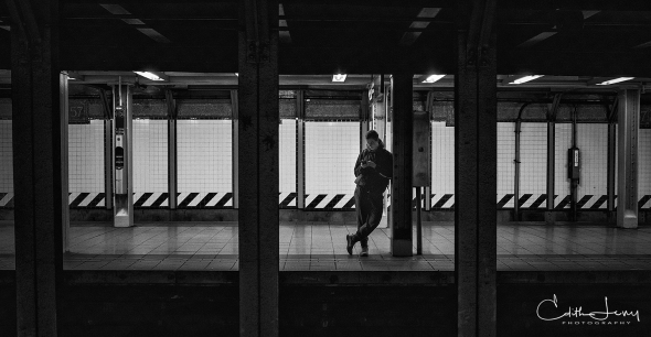 New York, NYC, Manhattan, subway, 57th Street, station, platform, man, waiting