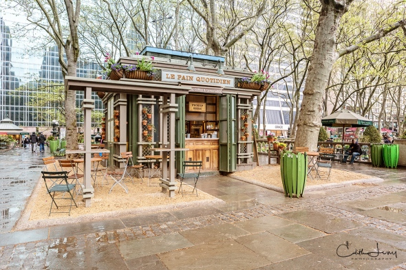 New York, NYC, Manhattan, Bryant Park, cafe, rainy day, rain, spring, outdoor cafe