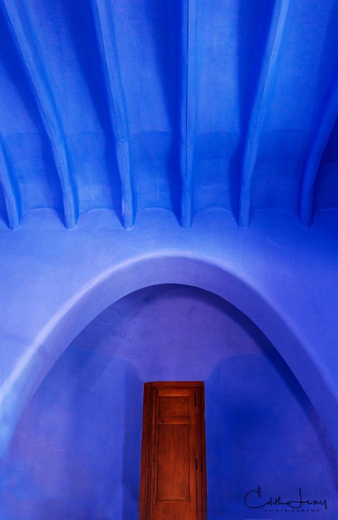 Barcelona, Spain, Park Guell, Antoni Gaudi, blue, door, architecture