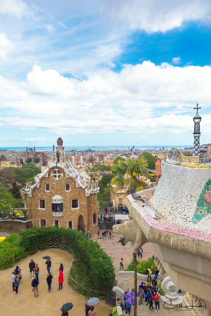Barcelona, Spain, Park Guell, Antoni Gaudi, architecture, digital painting